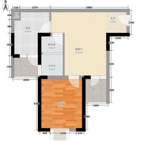 国会山1室2厅1卫1厨51.37㎡户型图