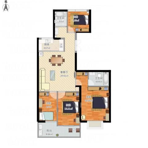 蓝天华都苑4室1厅2卫1厨136.00㎡户型图