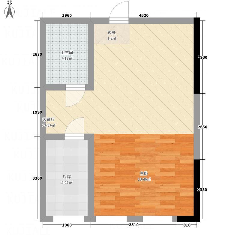 海亚金域湾62.10㎡A1户型1室1厅1卫1厨