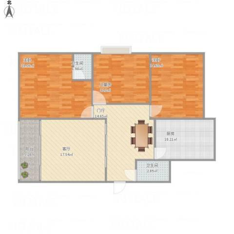 欧鸿——时代广场3室1厅2卫1厨131.00㎡户型图
