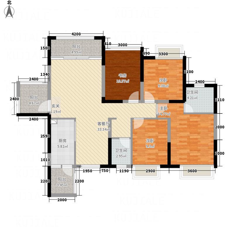 中鼎华景园128.32㎡1、2号楼CD户型3室2厅2卫1厨