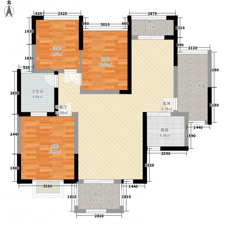 海亚金域湾13.20㎡B2户型3室2厅1卫1厨