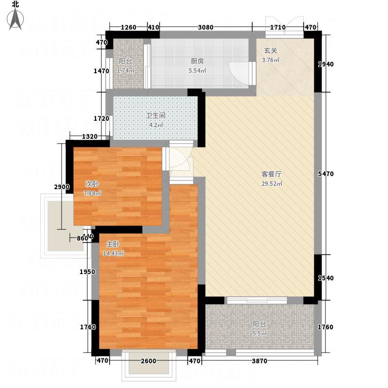 海亚金域湾A2户型2室2厅1卫1厨