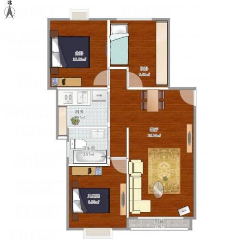 梧桐城邦二期3室1厅1卫1厨87.00㎡户型图