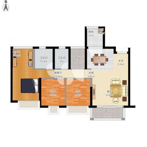 康联汇展中央2室1厅2卫1厨136.00㎡户型图