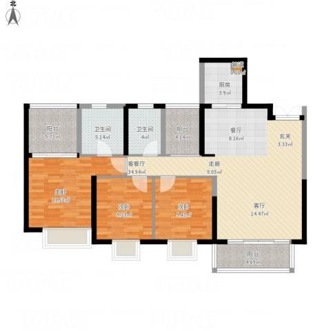 康联汇展中央3室1厅2卫1厨136.00㎡户型图