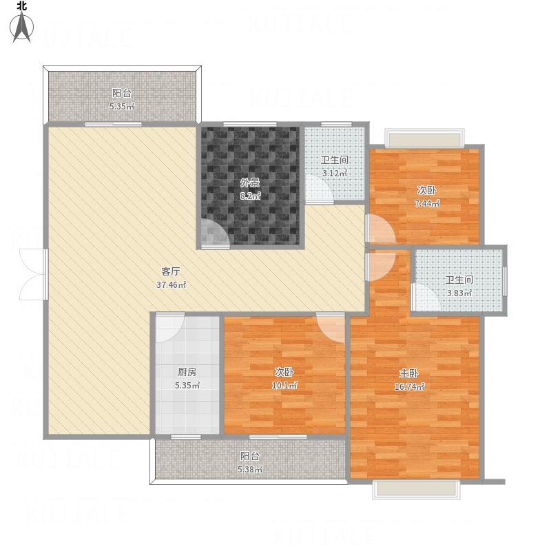 黔南_安邦华城5.6号楼M-C1户型三室两厅_2011-07-26-0025