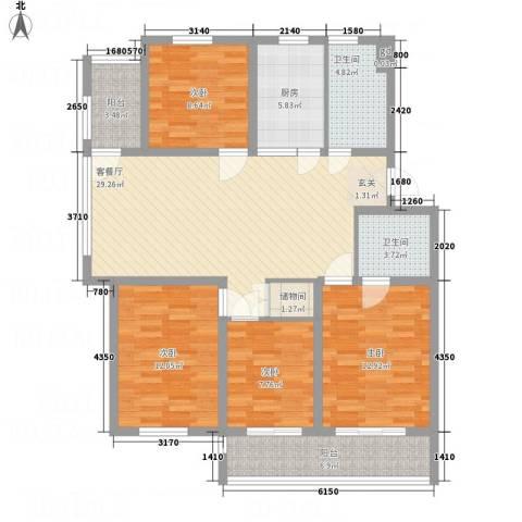 金东城雅居4室1厅2卫1厨96.68㎡户型图