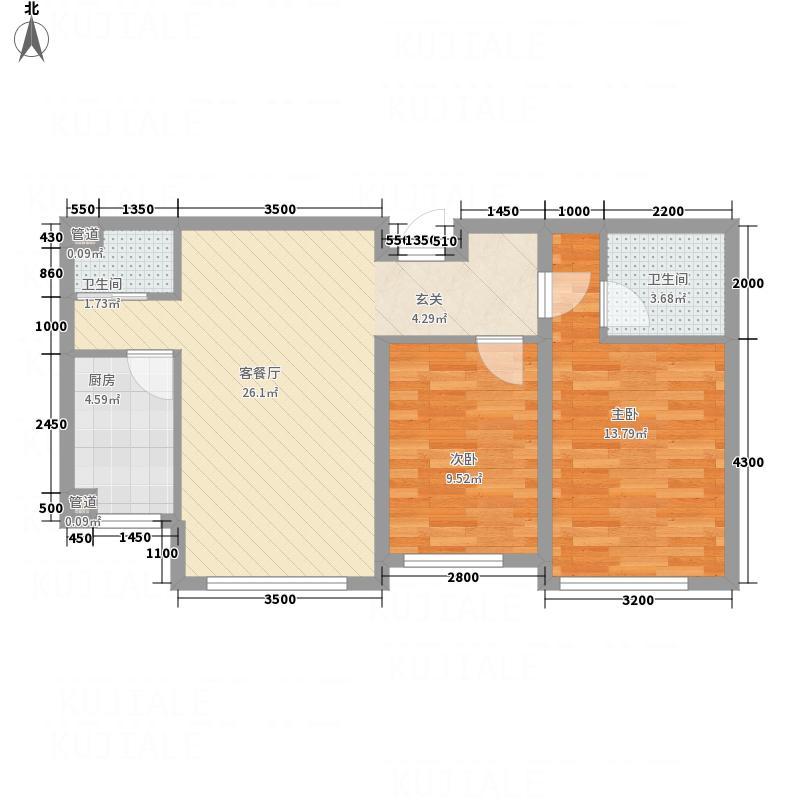 海拉尔首府282.65㎡首府D2户型2室2厅2卫1厨