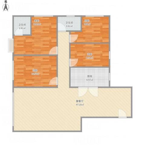 嘉和苑3014室1厅2卫1厨135.00㎡户型图