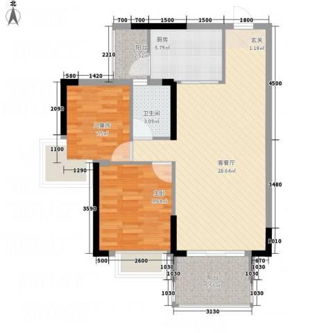 耀宝凯旋豪庭・锦公馆2室1厅1卫1厨84.00㎡户型图