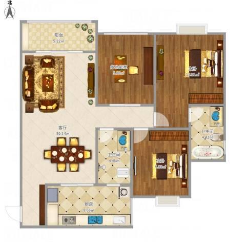 阳光尚城2室1厅2卫1厨116.00㎡户型图