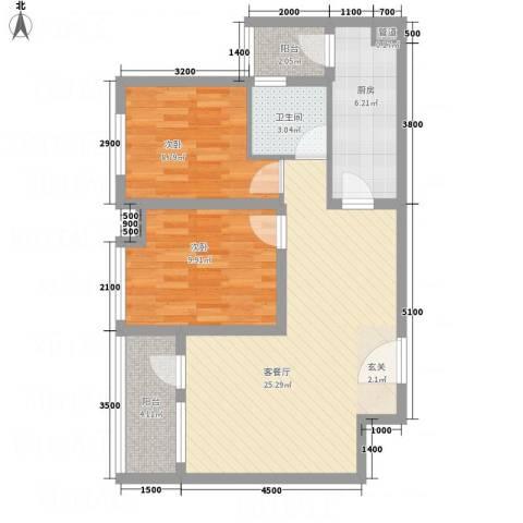 玉屏府2室1厅1卫1厨84.00㎡户型图
