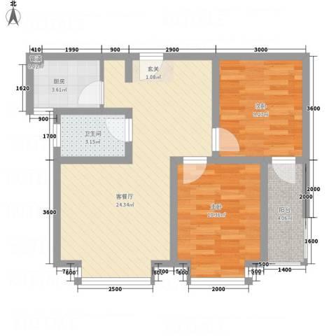 红格涪岸2室1厅1卫1厨54.82㎡户型图