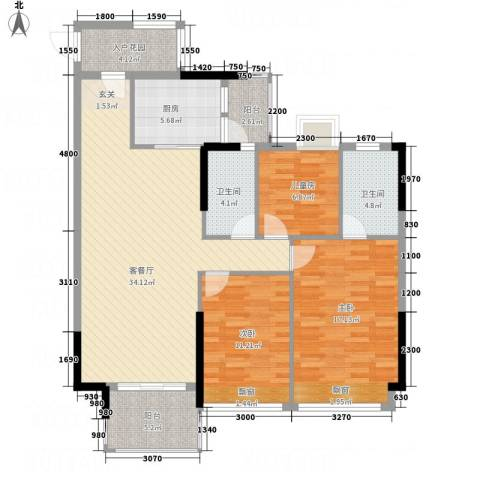 耀宝凯旋豪庭・锦公馆3室1厅2卫1厨95.84㎡户型图