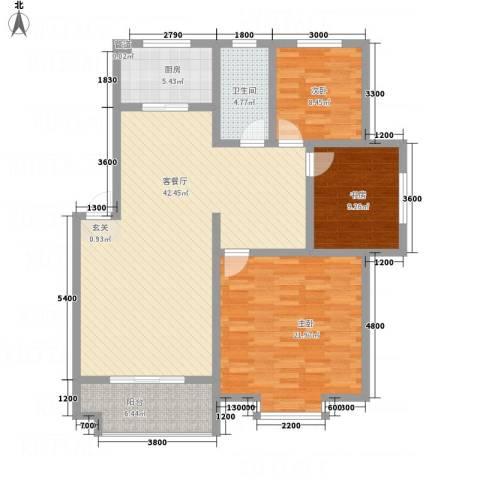 红格涪岸3室1厅1卫1厨98.79㎡户型图