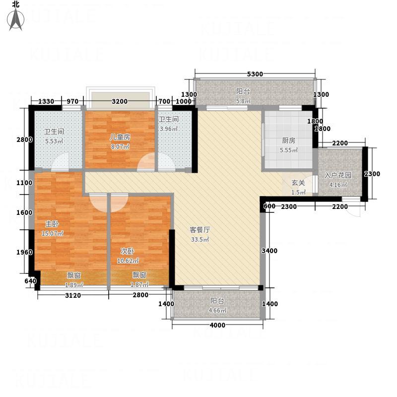 耀宝凯旋豪庭・锦公馆112.00㎡户型3室2厅2卫1厨
