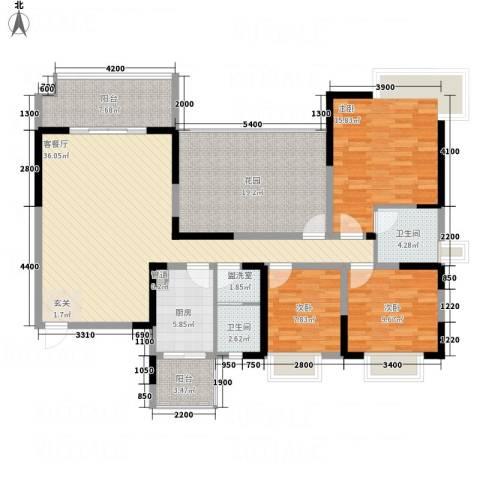 国会山3室2厅2卫1厨131.06㎡户型图