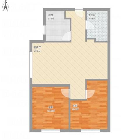 坦城2室1厅1卫1厨88.00㎡户型图