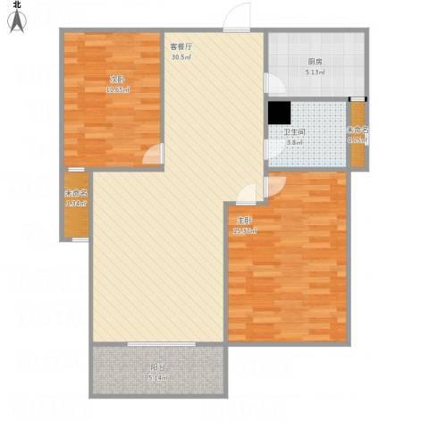 济宁华都金色兰庭2室1厅1卫1厨99.00㎡户型图