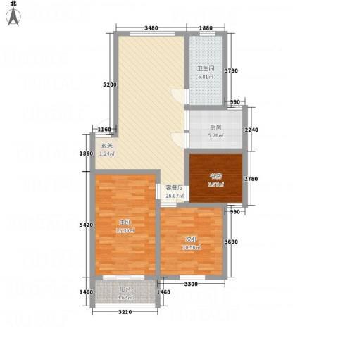 金东城雅居3室1厅1卫1厨73.37㎡户型图