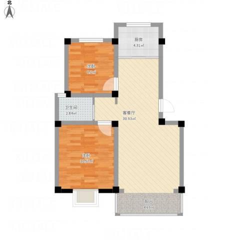 兴达绿郡2室1厅1卫1厨84.00㎡户型图