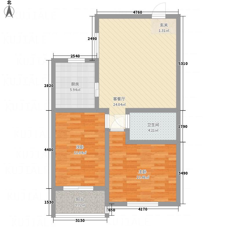 荣安广场1.30㎡户型2室2厅1卫1厨