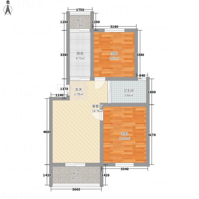 金东城雅居8.00㎡A户型2室2厅1卫1厨