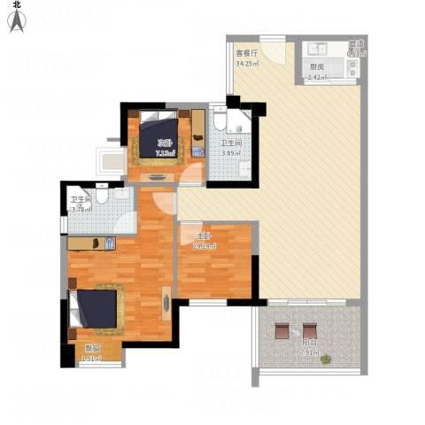 卓越东部蔚蓝海岸别墅2室1厅2卫1厨119.00㎡户型图