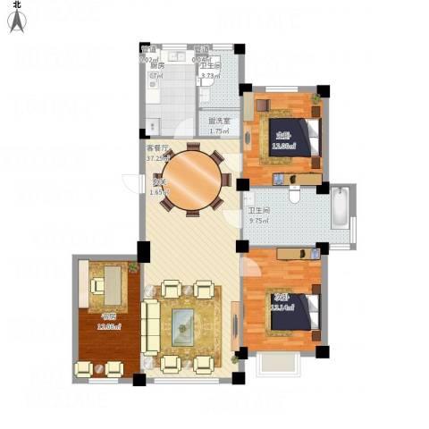 紫光碧海云天3室1厅2卫1厨107.88㎡户型图