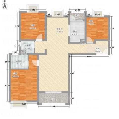 鼓楼上城3室1厅2卫1厨132.00㎡户型图
