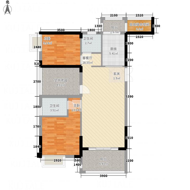 东方威尼斯11.85㎡6栋E1+空中花园户型2室2厅2卫1厨
