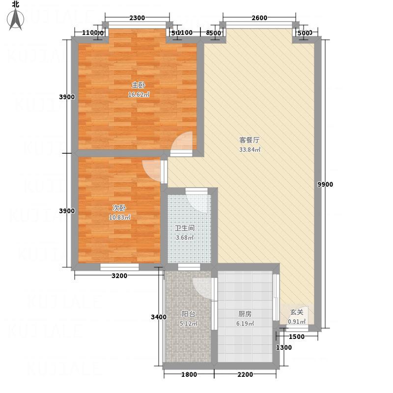 红格涪岸2.30㎡2-B户型2室2厅2卫1厨