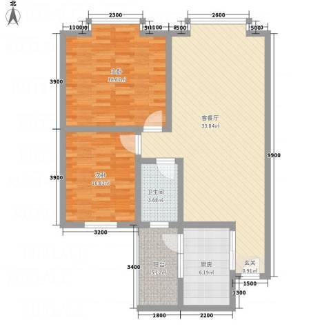 红格涪岸2室1厅1卫1厨76.29㎡户型图