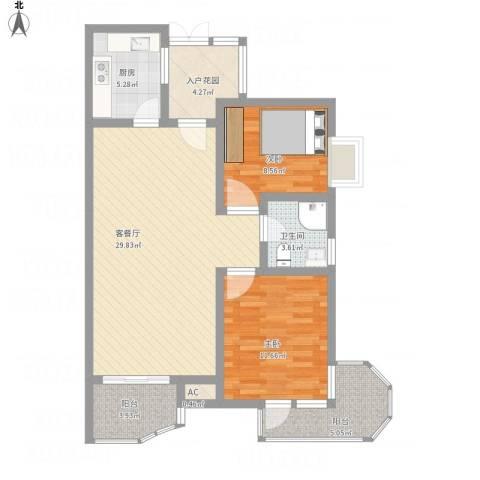 中铁人才家园2室1厅1卫1厨105.00㎡户型图