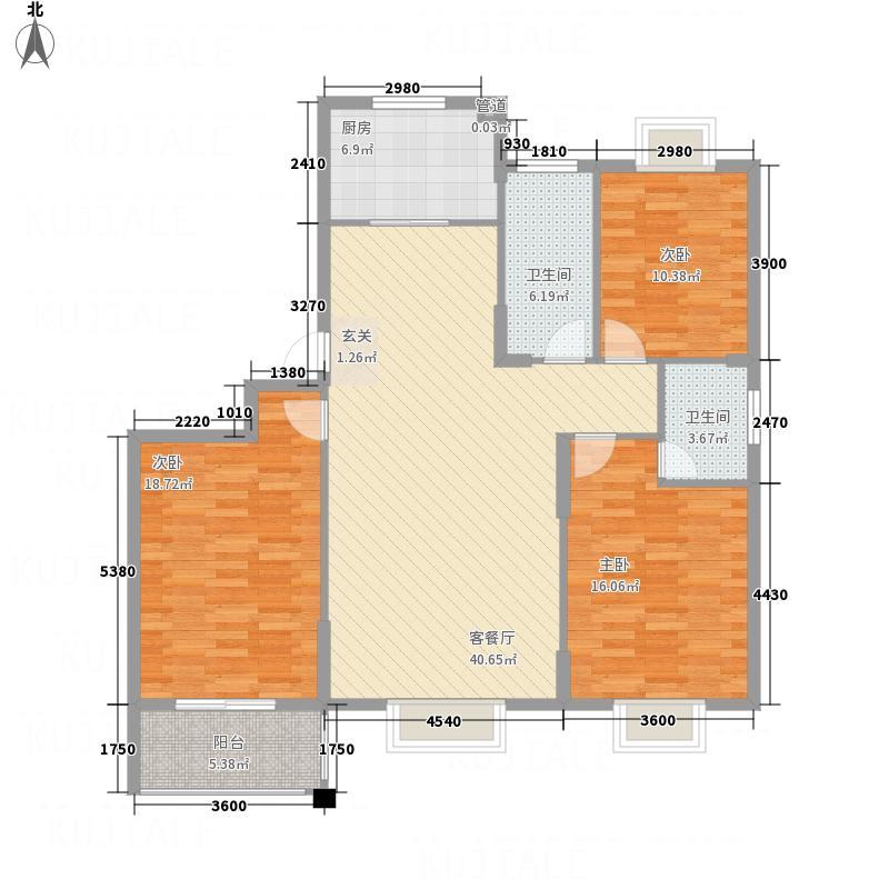 东方家园13.20㎡12#/B户型3室2厅2卫1厨