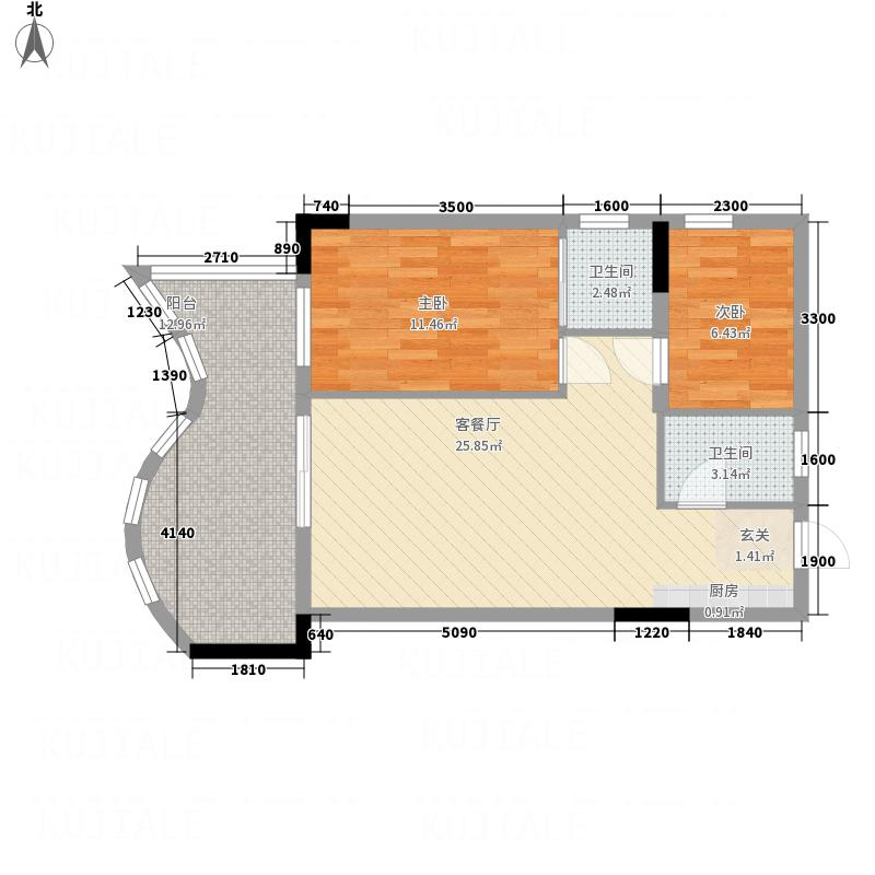 半岛逸景海岸82.00㎡1栋D梯标准层07户型2室1厅2卫1厨