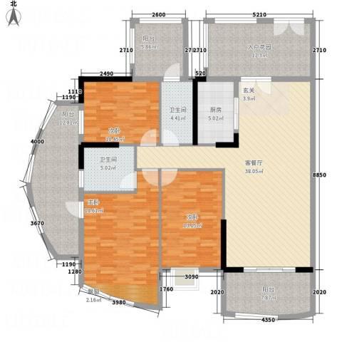 银地绿洲3室1厅2卫1厨146.00㎡户型图