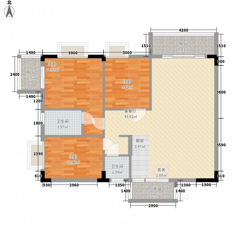 碧丽星城121.23㎡16#C户型3室2厅2卫1厨