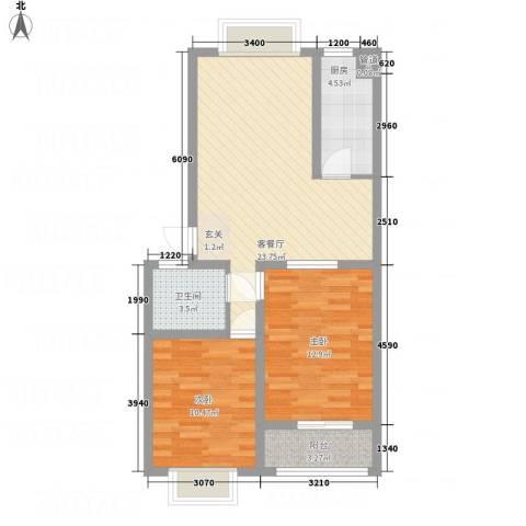 普兰银河花园2室1厅1卫1厨86.00㎡户型图
