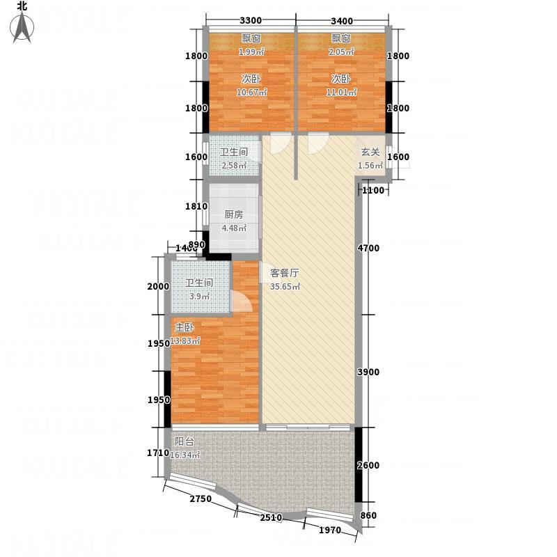 半岛逸景海岸113.00㎡1栋E梯标准层06+07户型3室2厅2卫1厨