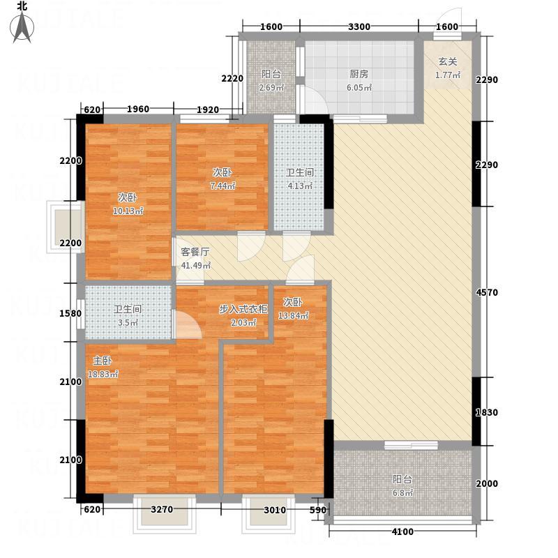 鸿福名苑135.80㎡D栋03单位户型4室2厅2卫1厨