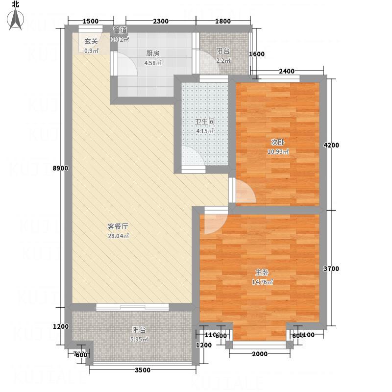 红格涪岸83.50㎡3-F户型3室2厅1卫1厨