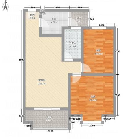 红格涪岸2室1厅1卫1厨84.00㎡户型图