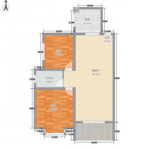 红格涪岸2室1厅1卫1厨80.06㎡户型图