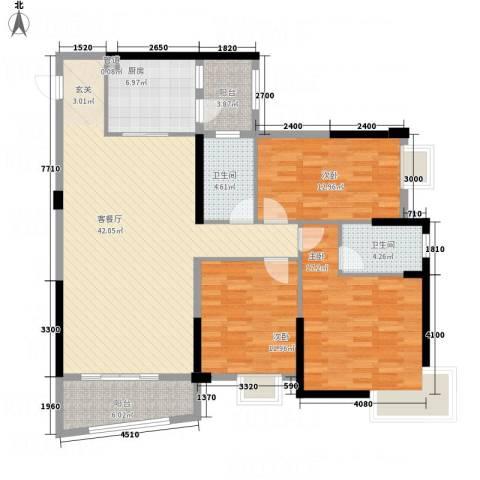 枫林水岸豪庭3室1厅2卫1厨135.00㎡户型图
