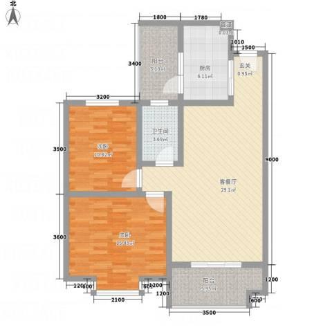 红格涪岸2室1厅1卫1厨76.26㎡户型图