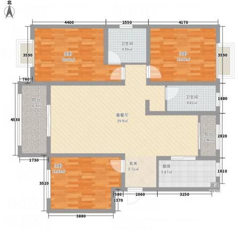 东方名城3室1厅2卫1厨151.00㎡户型图