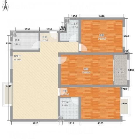 东方名城3室1厅2卫1厨146.00㎡户型图