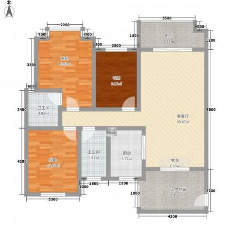 红格涪岸3室1厅2卫1厨112.00㎡户型图
